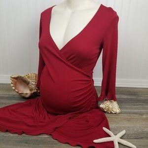 Mimi Maternity red mock wrap dress Sz S